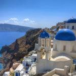 El puerto de Santorini en las Islas Griegas